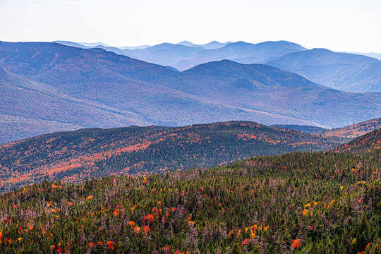 Fall foliage beginning in the White Mountains of New Hampshire.