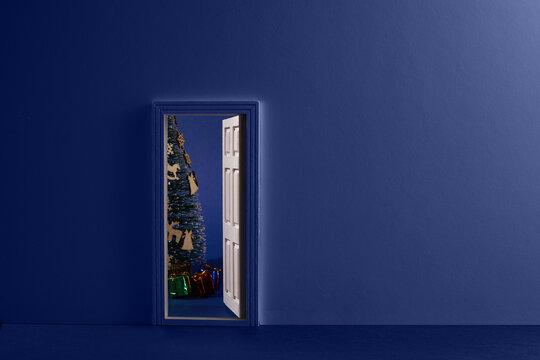 Christmas room with open door. Minimal concept