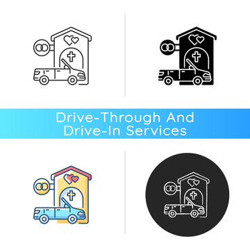 Drive through marriage chapel icon. Small church for wedding. Car for newlyweds. Marry in Las Vegas. Romantic honeymoon. Linear black and RGB color styles. Isolated vector illustrations