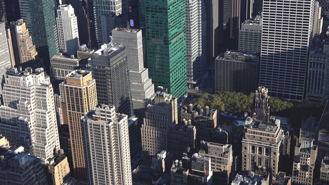 Towers of Manhattan New York City skyline in the morning, United States