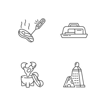 Kitchen appliance linear icons set. Food thermometer. Butter dish. Egg coddler. Cheese grater. Customizable thin line contour symbols. Isolated vector outline illustrations. Editable stroke