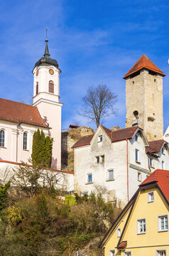 Village Church And Medieval Castle - Church and castle ruins, Rechtenstein on the Danube, Baden-Württemberg, Germany.