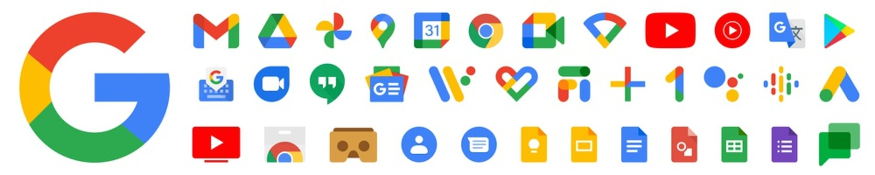 New Google product icons. Big collection of gmail, youtube and chrome symbols. Maps and music. Isolated new Google products of 2020. Editorial set. Rivne, Ukraine - November 12, 2020. EPS 10