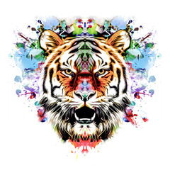 Tiger's head illustration on white background with colorful creative elements