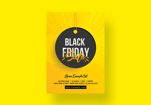 Big Sale Black Friday Flyer with Yellow Accents