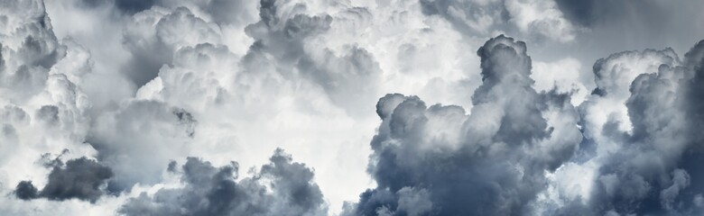 Fototapeta Epic cloudscape. White ornamental cumulus clouds before the rain. Fickle summer weather in the Baltic states. Abstract natural pattern, texture, background, wallpaper, 3D, graphic resources, design