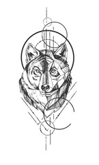 Wolf head with geometric symbol