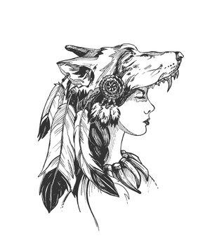 Woman shaman in ethnic headdress