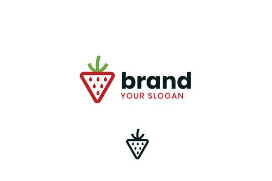Strawberry logo, strawberry shop logo, berry logo, fruit logo iconic logo, nature logo, shop logo, juice logo.