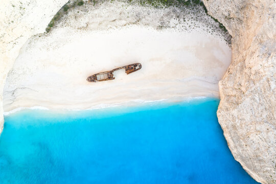 Zakynthos island Greece shipwreck Navagio beach travel vacation background drone view aerial photo