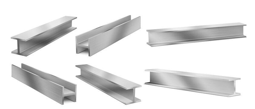 Metal construction beams, steel structure girders. Vector realistic set of stainless joist for building, iron structural profile isolated on white background. 3d illustration of strong i-beams