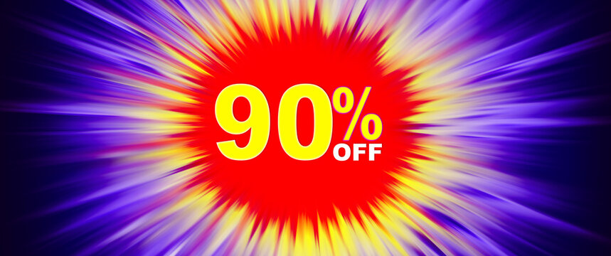 Explosive purple bright background, yellow numbers on a red background. Discount 90% off, special offer, promotions, sale