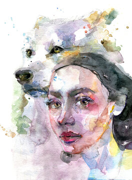 Woman with wolf watercolor illustration