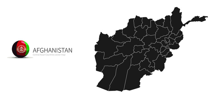 Afghanistan Map and Flag Icon Map of Central Asian countries.