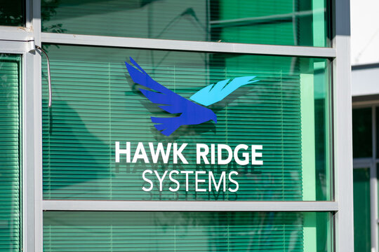 Hawk Ridge Systems sign. Hawk Ridge Systems is your official provider for SOLIDWORKS, CAMWorks, 3D printers from HP and Markforged, and Artec 3D scanners - Mountain View, California, USA - 2020