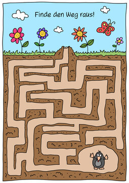 Rätselbild Labyrinth Maulwurf, koloriert / farbig