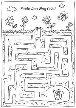 Rätselbild Labyrinth Maulwurf