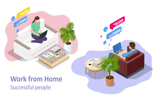 Isometric video conference. Working at home, coworking space. Online meeting work form home. Home office.
