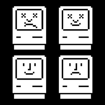Set of computers with stylized faces of dead face on screen, a system crash symbol, and happy computer. Vector illustration.
