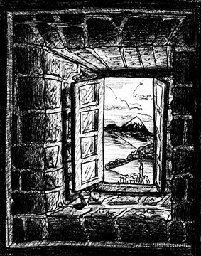 Rural landscape seen from an open window in a stone brick wall on the Way of St. James, northern Spain. Ink drawing.