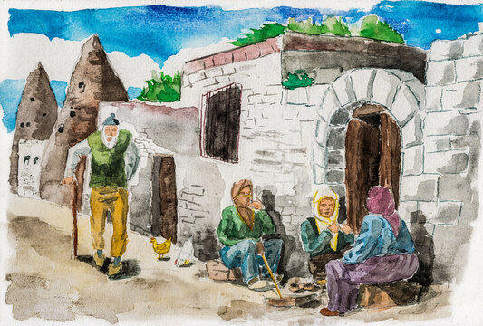 People talking on a quiet street in Goreme. A small countryside village in the Cappadocia region, located in central Turkey. Watercolor painting.