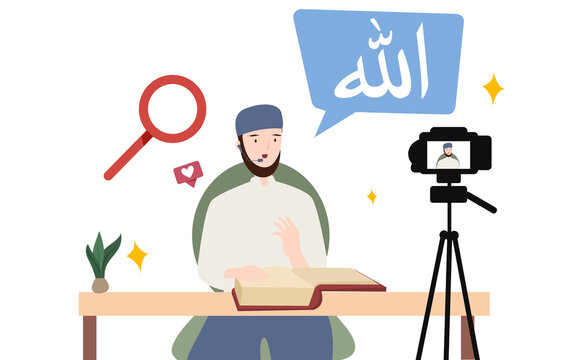 Man Islam scholar teach love spirituality thick book holy quran on camera video streaming recording with flat cartoon style