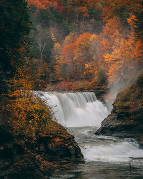 Lower Falls with autumn color, at Letchworth State Park, in western New York state