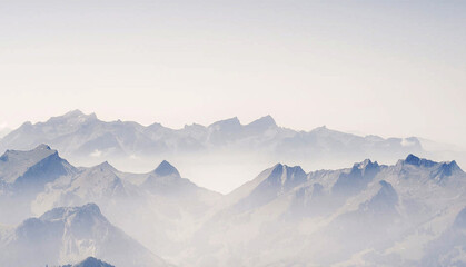 Shot of beautiful pictures of Switzerland on a cloudy day in winter