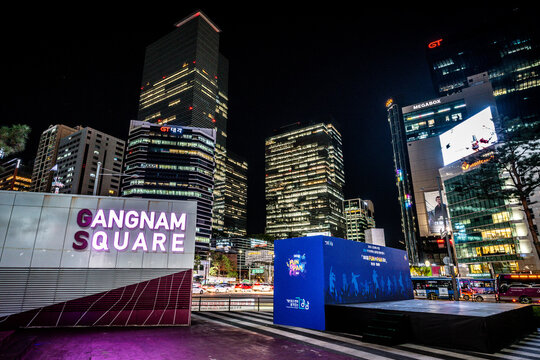 Gangnam square view at night with illuminated offices buildings in Gangnam-gu Seoul South Korea