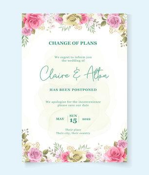 Floral postponed wedding card design
