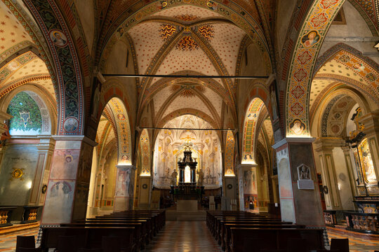 Interior view of Lugano Cathedral of Saint Lawrence in Ticino Switzerland