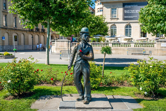 Charlie Chaplin memorial statue The Tramp created by the British sculptor John Doubleday on quays of Vevey Switzerland