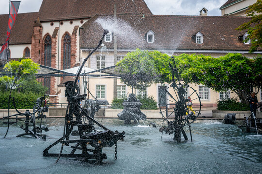 Tinguely Fountain view taken at high speed showing all water drops in Basel Switzerland