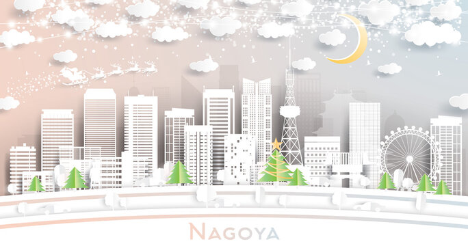 Nagoya Japan City Skyline in Paper Cut Style with Snowflakes, Moon and Neon Garland.