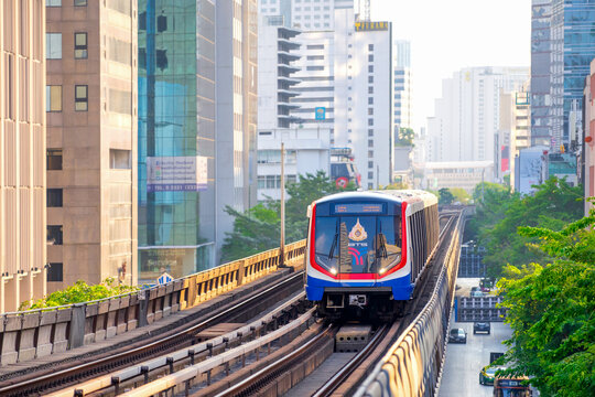 BANGKOK THAILAND-APRIL 12: BTS sky train is arriving to BTS Saladaeng station on April 12,2020 in Bangkok,Thailand.