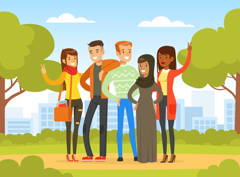 Happy People of Various Nationalities and Cultures Standing Together in Park, Social Diversity, Independent, Equality, Solidarity Vector Illustration