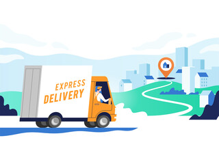 Express delivery services and logistics. Truck with man is carrying parcels on points. Concept online map, tracking, service. Vector illustration.