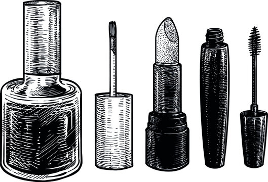 Makeup and cosmetics illustration, drawing, engraving, ink, line art, vector