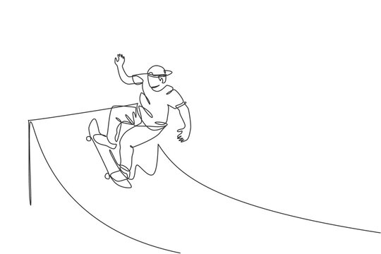 One single line drawing of young skateboarder man exercise riding skateboard at ramp board vector illustration. Teen lifestyle and extreme outdoor sport concept. Modern continuous line draw design