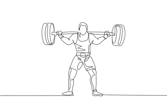 Single continuous line drawing of young strong weightlifter man preparing for barbell workout in gym. Weight lifting training concept. Trendy one line draw design graphic vector illustration