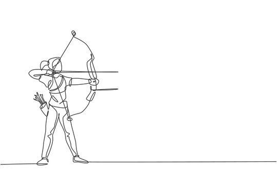 Single continuous line drawing of young professional archer woman focus aiming archery target. Archery sport exercise with the bow concept. Trendy one line draw design graphic vector illustration