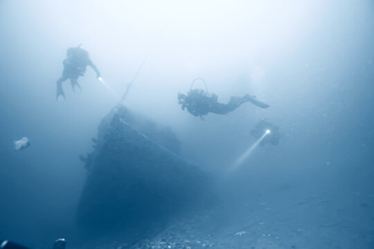 shipwreck diving landscape under water, old ship at the bottom, treasure hunt