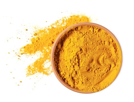 Turmeric powder (Curcuma) in bowl, pot isolated on white background, top view