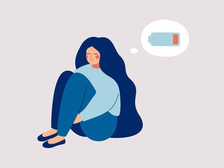 Fototapeta Tired woman sitting and hugging her knees with a discharged battery in the thoughts. Fatigued female is in emotional burnout or mental disorder. Vector illustration obraz
