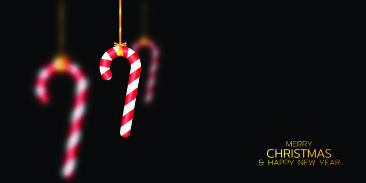 Merry Christmas and Happy New Year illustration. Winter holiday vector illustration. Hanging candy canes. Festive composition with realistic 3D objects
