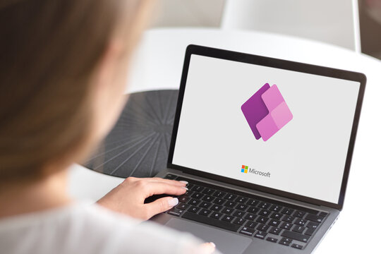 Guilherand-Granges, France - November 13, 2020. Notebook with Microsoft Power Apps logo. Suite of apps, services, connectors and data platform.