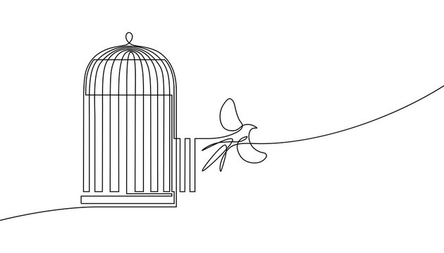 Bird released from birdcage in continuous line art drawing style. Bird flying away from open cage. Rescue, freedom and new opportunities. Minimalist black linear sketch isolated on white background