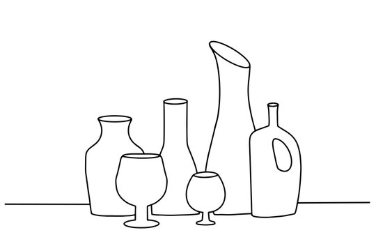 Doodle drawing vector vector of  beverage bottles lined up in a row.