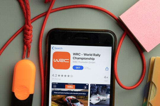 New York, United States - 7 November 2020: WRC World Rally Championship app store logo on phone screen, Illustrative Editorial
