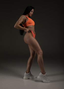 Attractive fitness woman, trained female body on grey background.